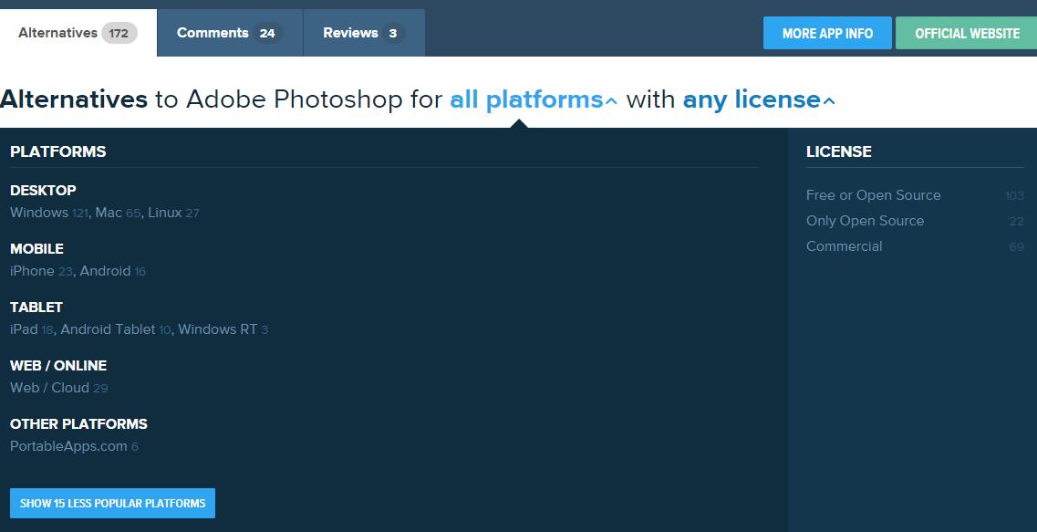 Выбор платформы и вида лицензии при поиске альтернативных программ на сайте alternativeto.net