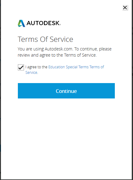Подтверждение соглашения об условиях использования служб Autodesk