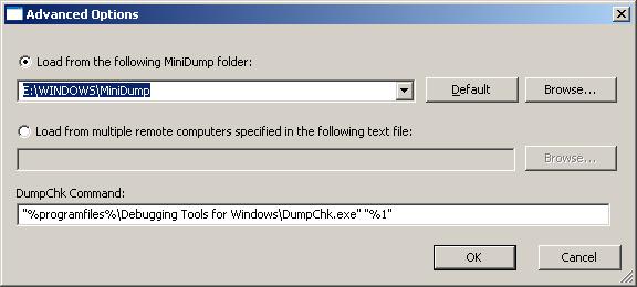 BlueScreenView Advanced Options
