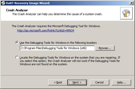 Crah Analyzer требует наличие  Microsoft Debugging Tools for Windows