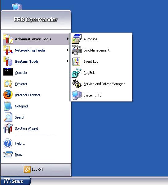 Основное меню ERDC