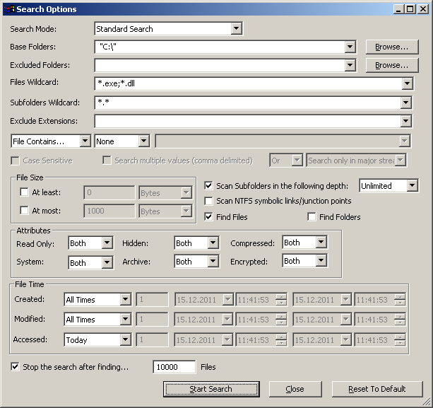 Критерии поиска файлов Searh Options