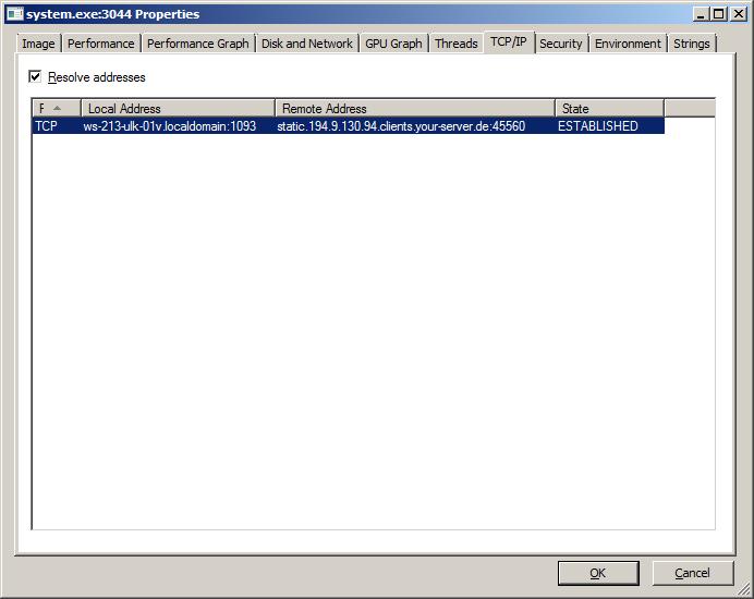 Использование Process Explorer для просмотра сведений о сетевых соединениях.
