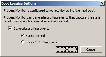 Process Explorer - включение  мониторинга в процессе загрузки Windows.