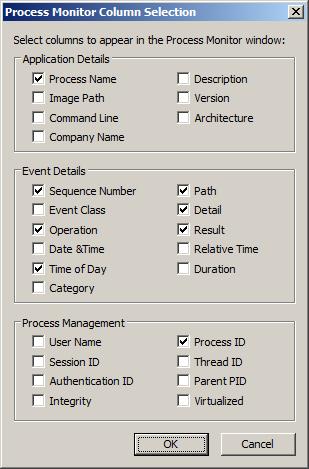 Выбор колонок в окне данных утилиты Process Monitor от Sysinternals