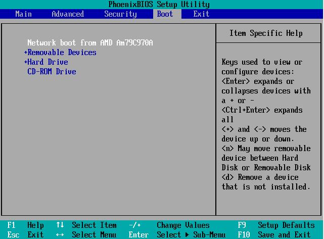 Установка приоритетов устройств загрузки в BIOS
