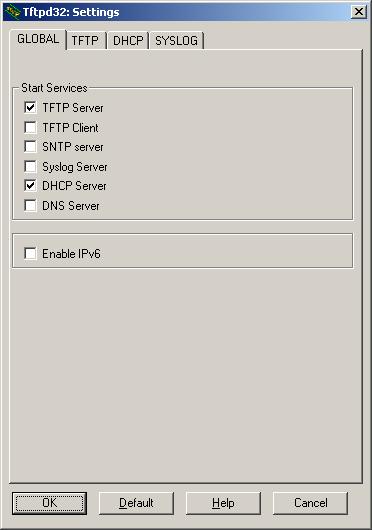 TFTPD32 основное окно программы