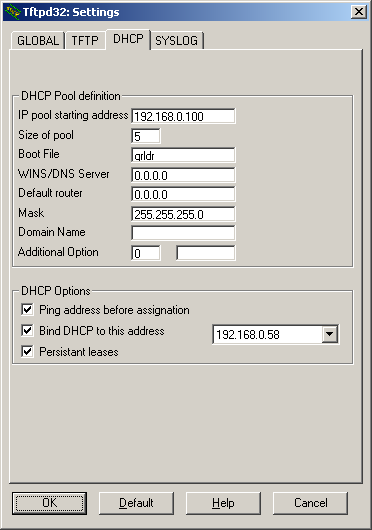TFTPD32 - конфигурирование TFTP сервера