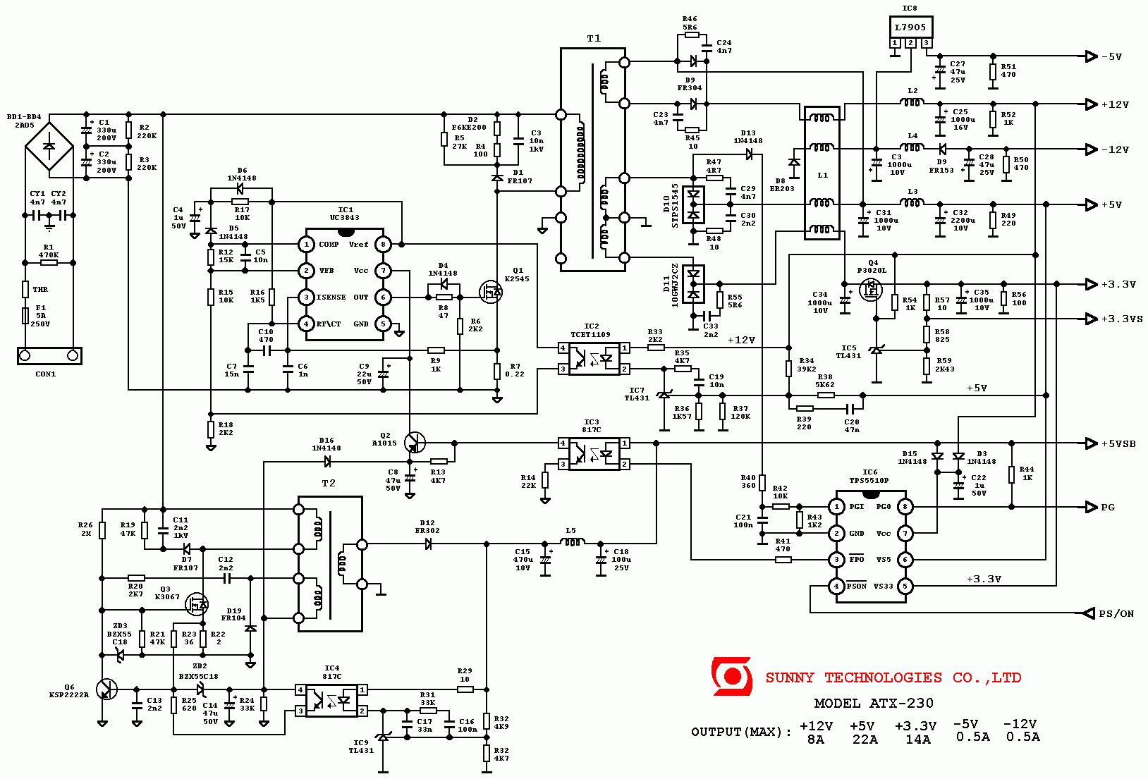 блок питания атх схема uc3843