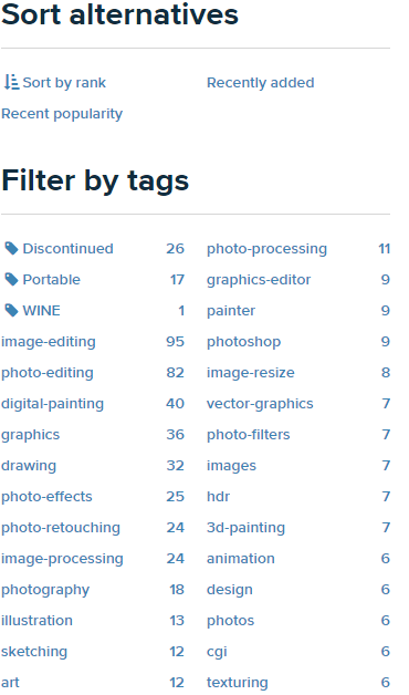 Средства сортировки и фильтрации результатов поиска на сайте AlternativeTo