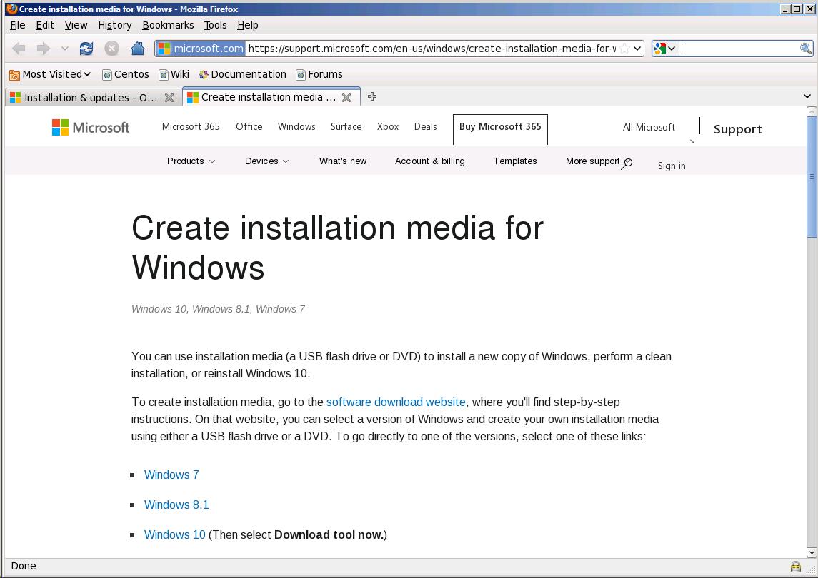 Центр загрузки Windows из среды CentOS 6.5 с браузером Mozilla Firefox 3.6.9