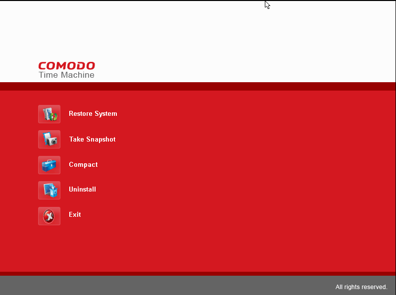Интерактивная консоль Comodo Time Machine