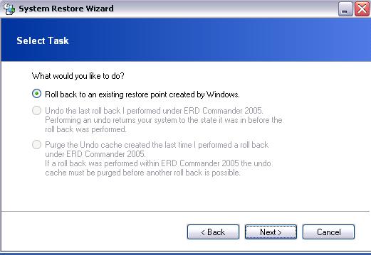 ERD Commander -  System Restore