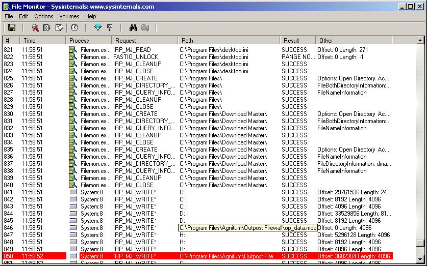 Монито ринг обращений к файлам с помощью Filemon