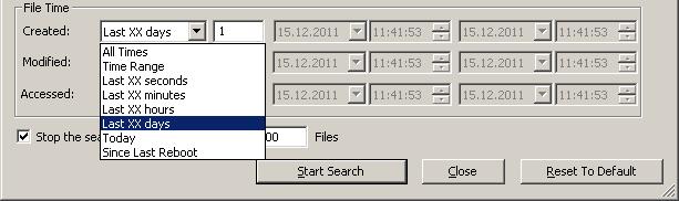Настройки поиска файлов по времени File Time