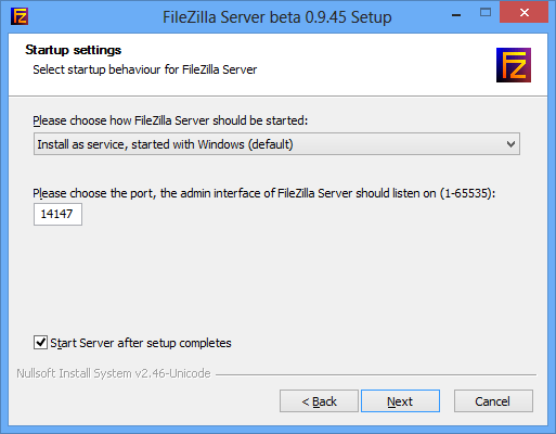 FileZilla Server Interface