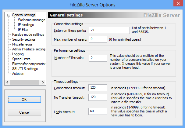 Панель управления  - общие настройки  FileZilla Server