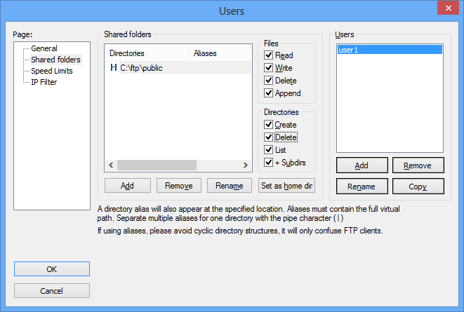 Настройка пользователей  FileZilla Server
