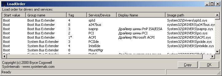 Определение  порядка загрузки драйверов с помощью LoadOrder