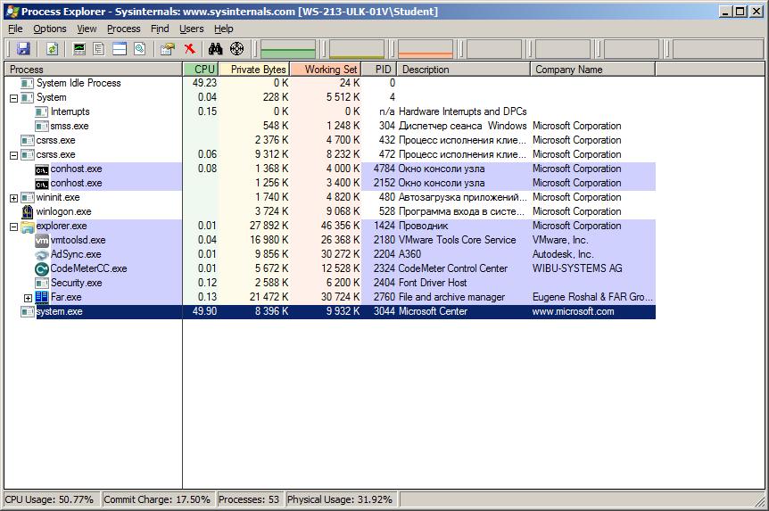 Использование Process Explorer для обнаружения майнера.