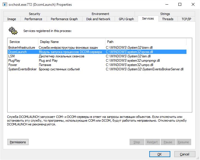 Просмотр свойств процесса в Process Explorer.