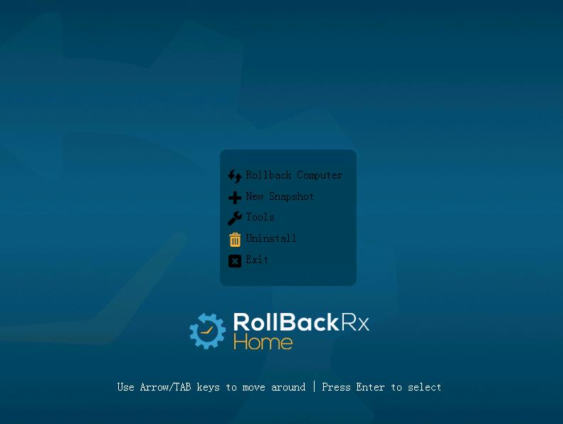 Меню Uninstall субконсоли  RollBackRx Home