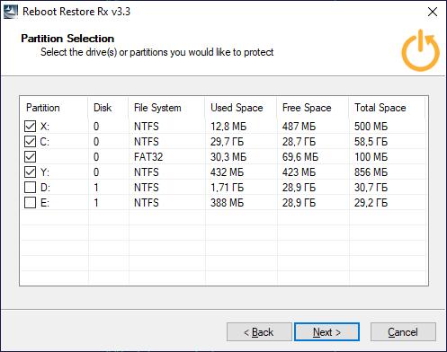 Выбор дисков для защиты от изменений в программе Reboot Restore Rx