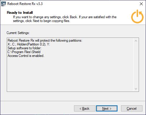 Параметры установки  Reboot Restore Rx