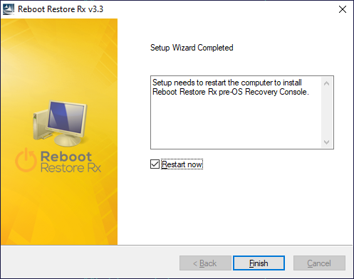 Завершение установки программы Reboot Restore Rx
