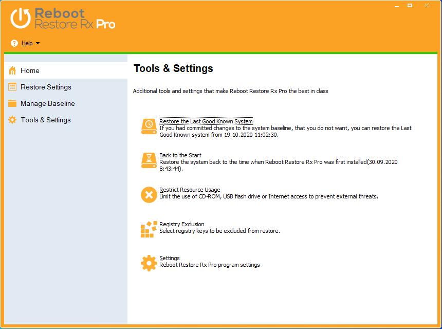 Основное окно приложения Reboot Restore Rx Pro на английском языке