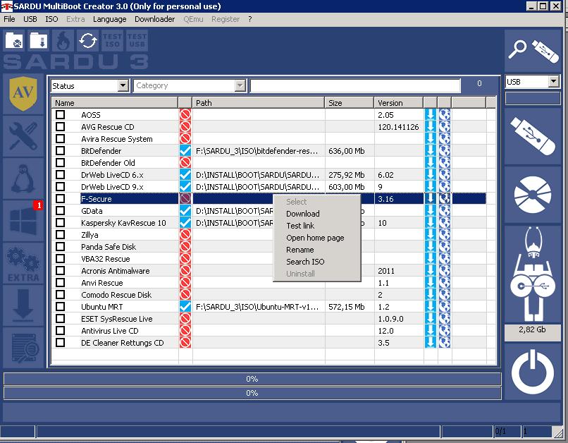 Контекстное меню файлов-образов  SARDU
