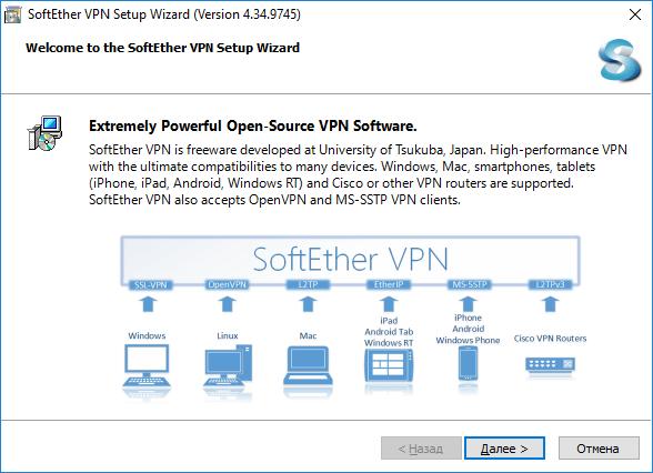 Начало установки  SoftEther VPN Server