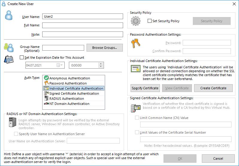 Создание пользователя с доступом к SoftEther VPN Server по индивидуальному сертификату.