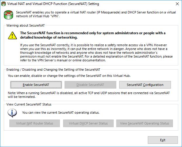 Настройка Virtual DHCP  SoftEther VPN Server.