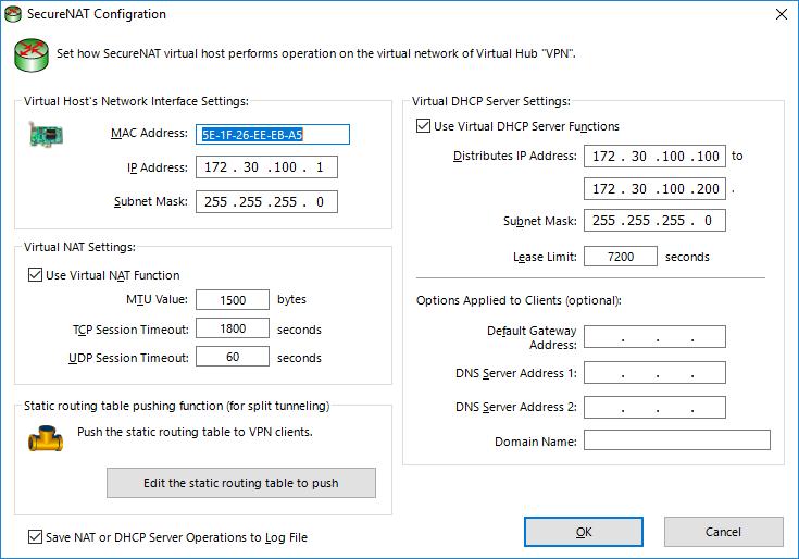 Настройка DHCP без шлюза по умолчанию SoftEther VPN Server.