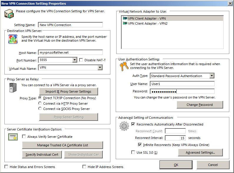 Создание нового подключения в SoftEther VPN Client Manager.