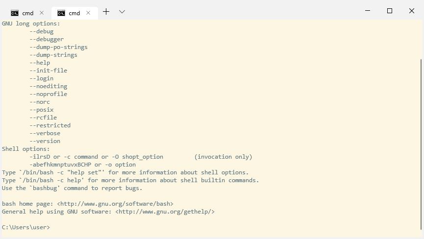 Измененная цветовая схема окна командной строки в Windows Terminal